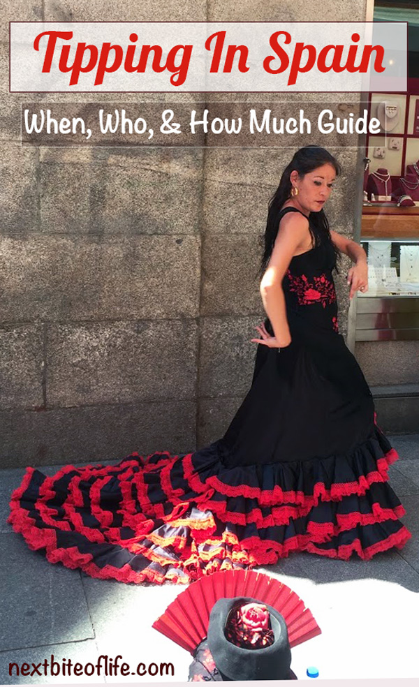 Tipping in Spain guide cover with flamenco dancer. #tippinginspain #tipguide #spaintipping #spain #travel