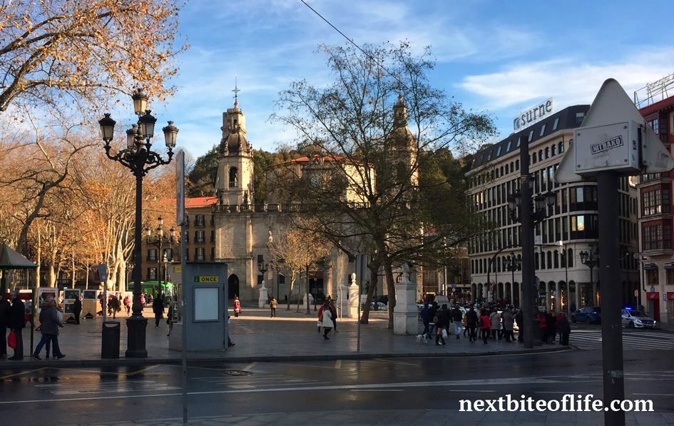st nicolas church Bilbao in the background and park in front