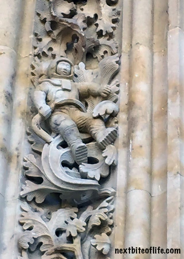 astronaut of facade of new cathedral Salamanca Spain Guide