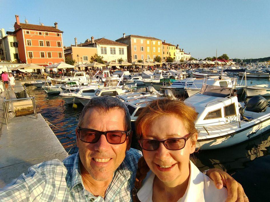couple in Croatia marina with boats but on lockdown in Australia