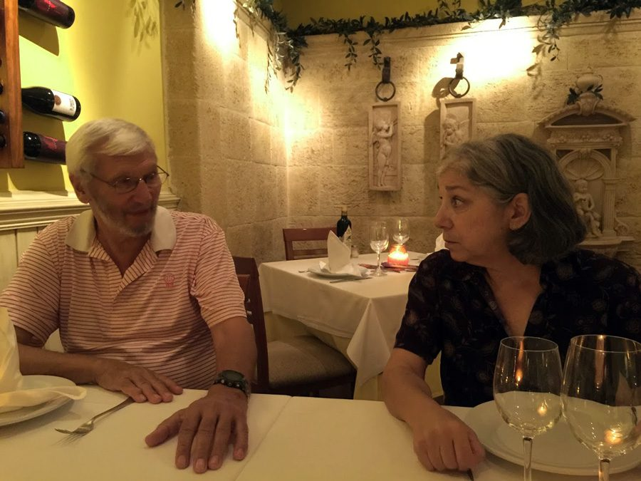 podcast chronicles with jane buck and husband seated in restaurant