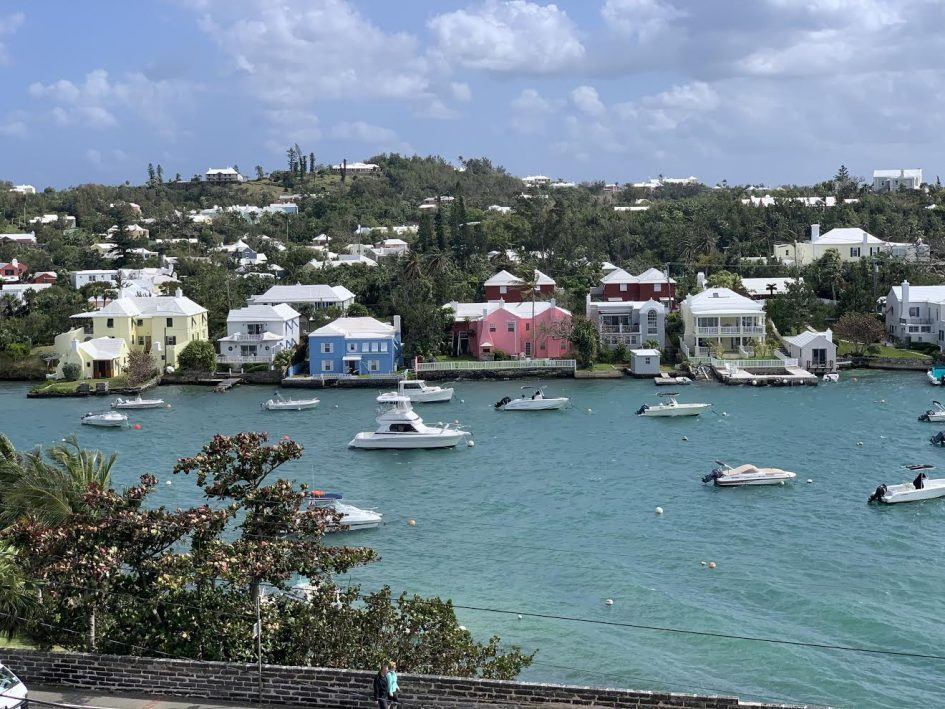expat in Bermuda lockdown view of sea, boats and houses