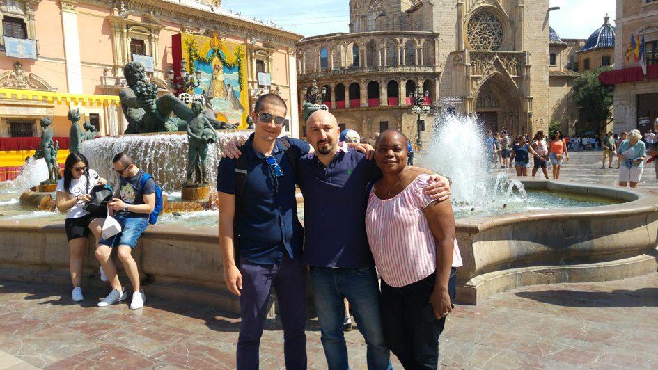 3 people posing in Valencia Spain