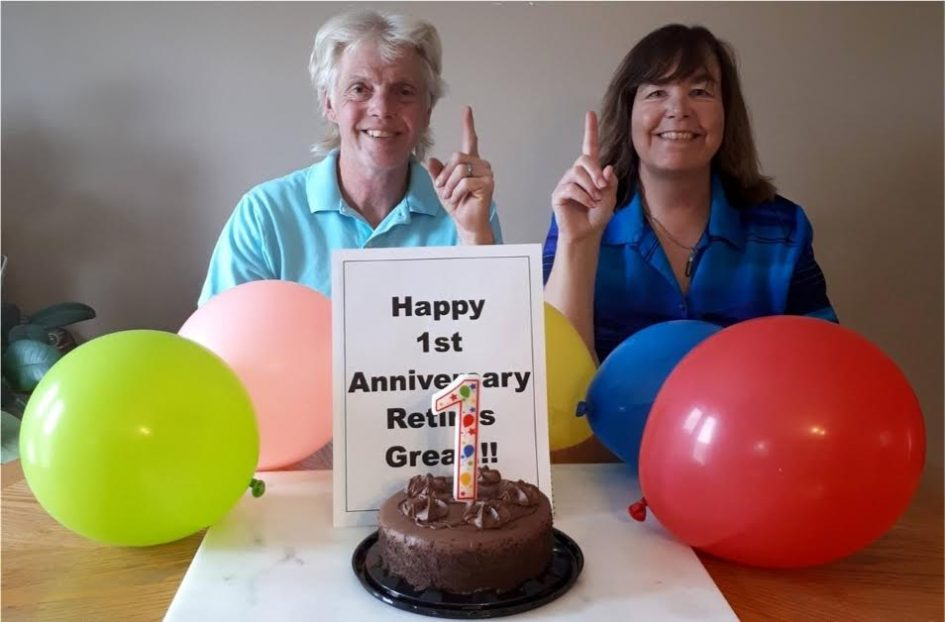 Celebration time - retirement is great and fulfilling couple with ballons and cake