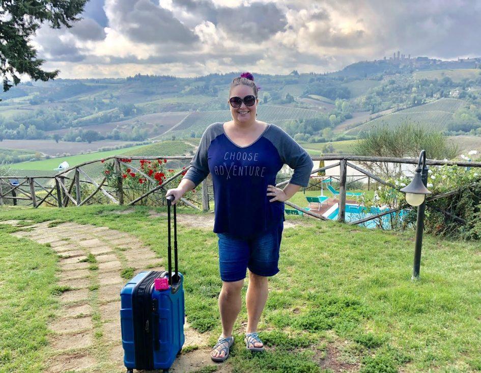 Leah in flip flops in Tuscany